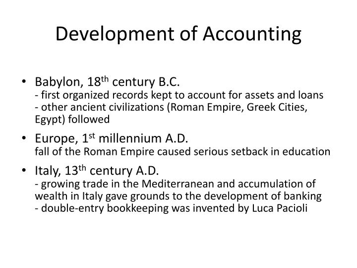 Development of Accounting