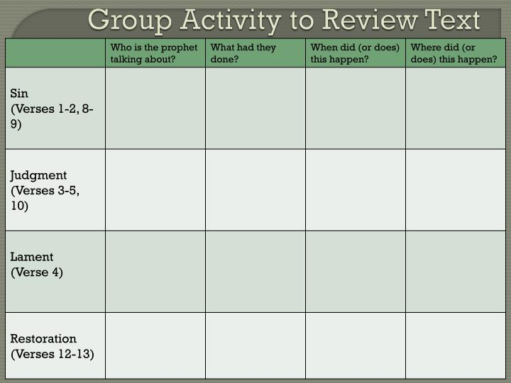 Group Activity to Review Text