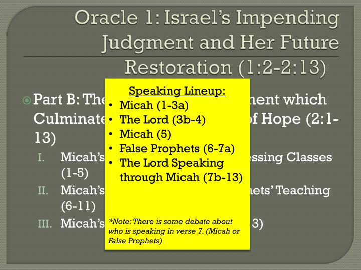 Oracle 1 israel s impending judgment and her future restoration 1 2 2 13