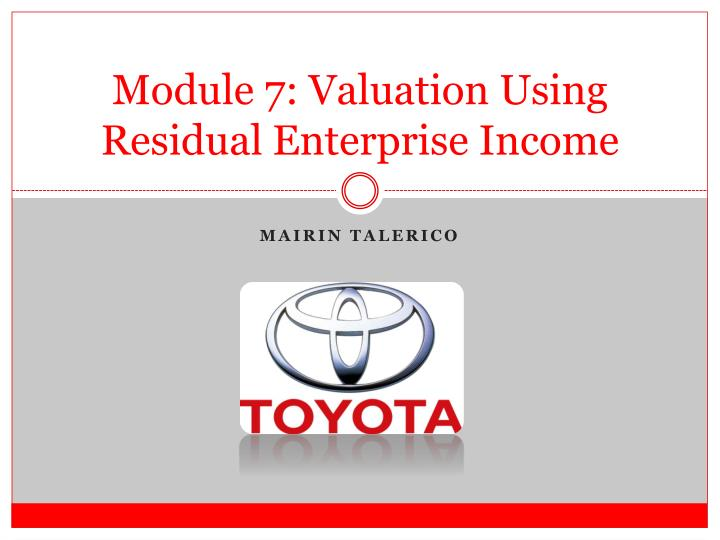 Module 7 valuation using residual enterprise income