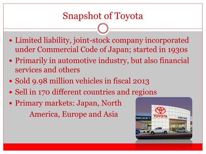 Snapshot of Toyota