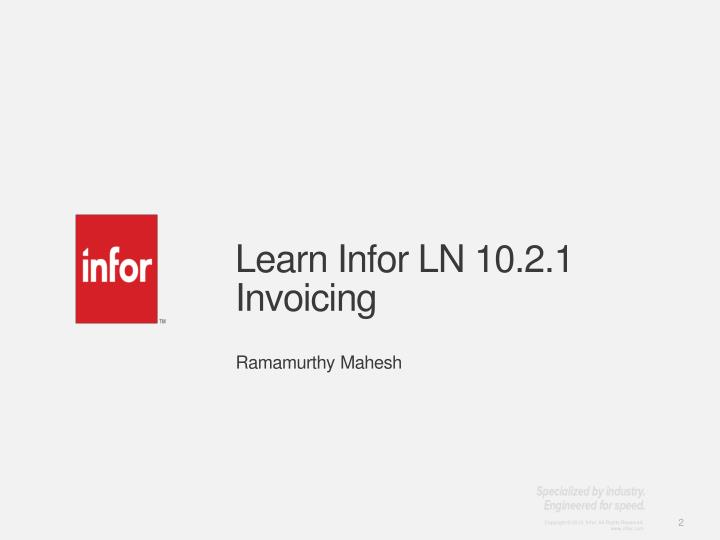 Learn infor ln 10 2 1 invoicing