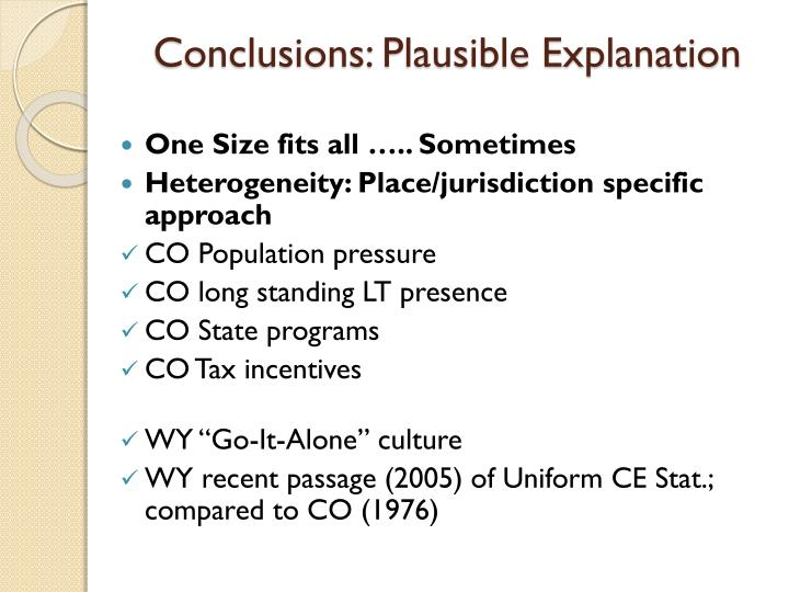Conclusions: Plausible Explanation