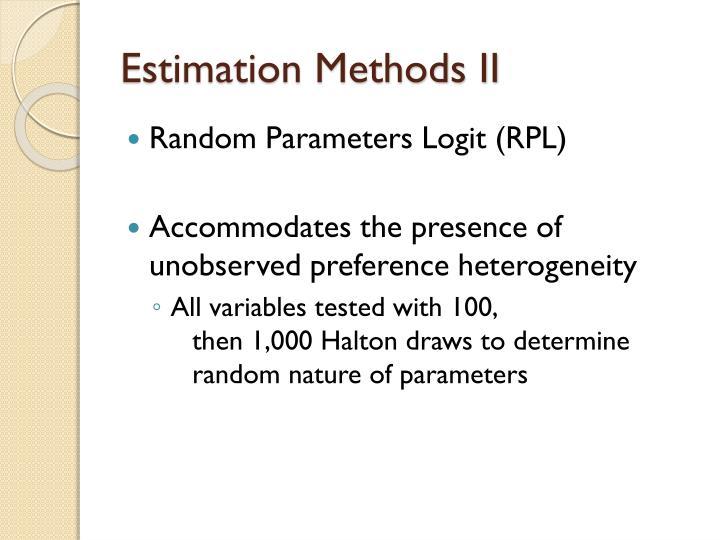 Estimation Methods II