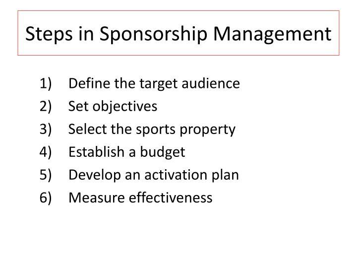 Steps in Sponsorship Management