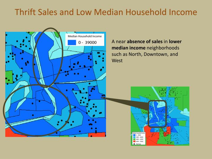 Thrift Sales and Low Median Household Income