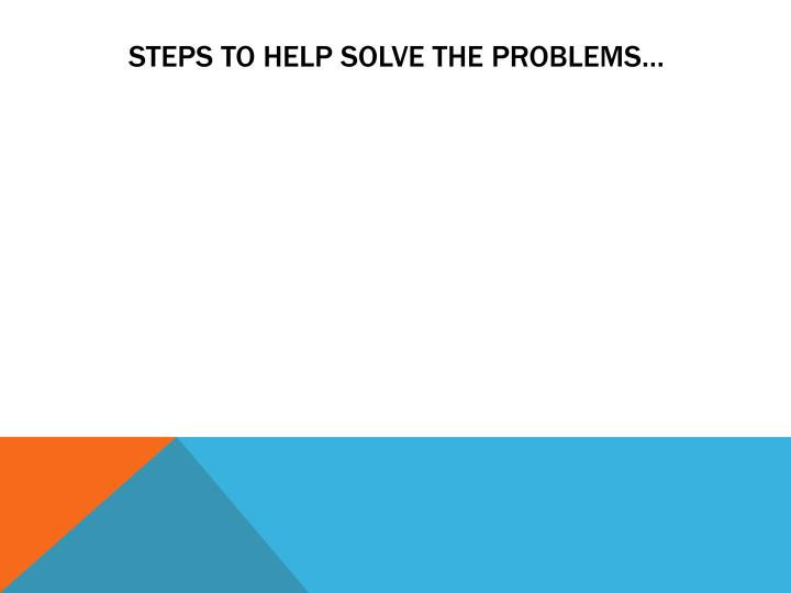 Steps to help solve the problems…