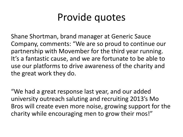 Provide quotes