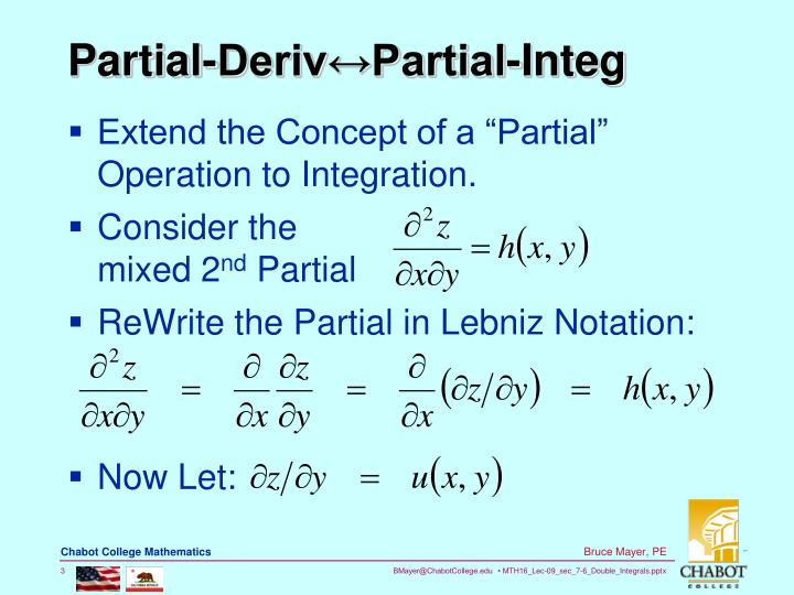 Partial deriv partial integ