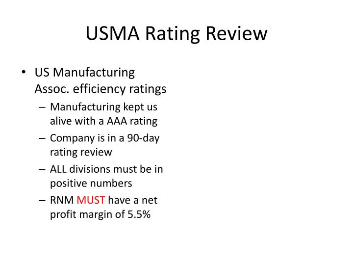 USMA Rating Review