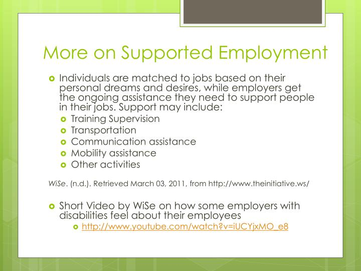 More on Supported Employment