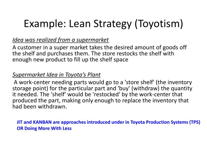 Example: Lean Strategy (