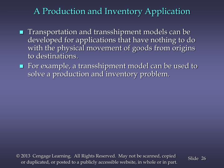 A Production and Inventory Application