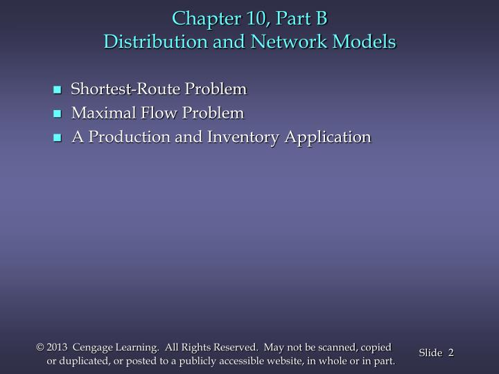 Chapter 10 part b distribution and network models