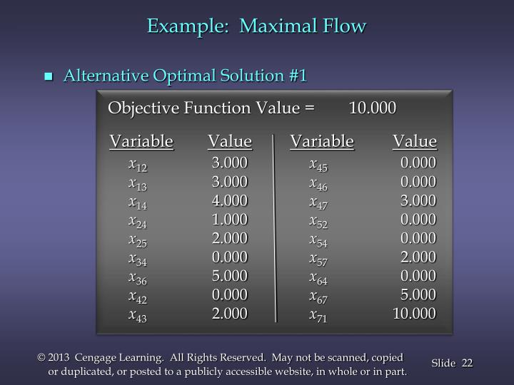 Example:  Maximal Flow