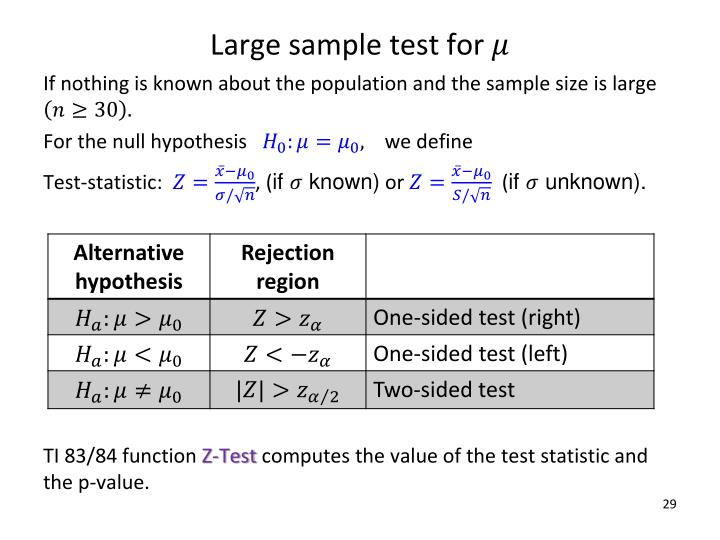Large sample test for