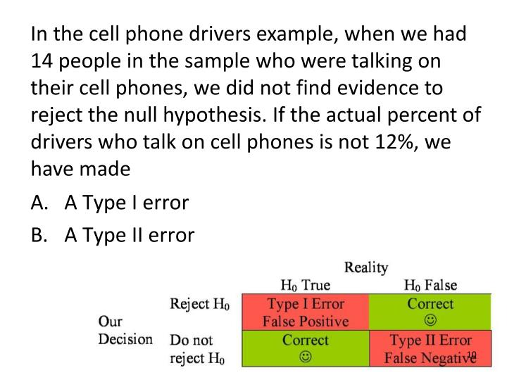 In the cell phone drivers example, when we had 14 people in the sample who were talking on their cell phones, we did not find evidence to reject the null hypothesis. If the actual percent of drivers who talk on cell phones is not 12%, we have made