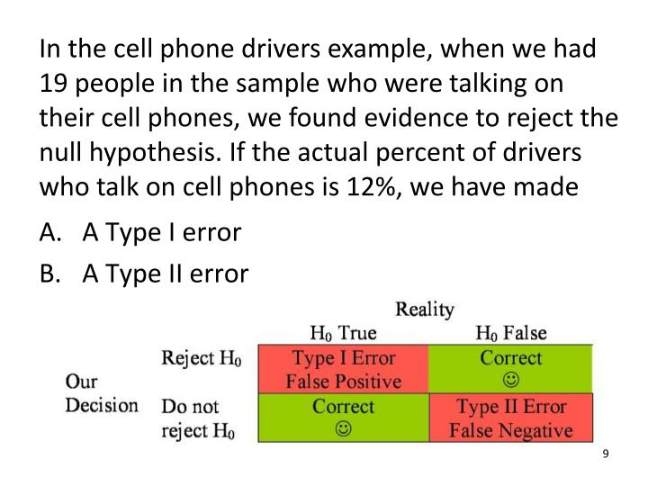 In the cell phone drivers example, when we had 19 people in the sample who were talking on their cell phones, we found evidence to reject the null hypothesis. If the actual percent of drivers who talk on cell phones is 12%, we have made
