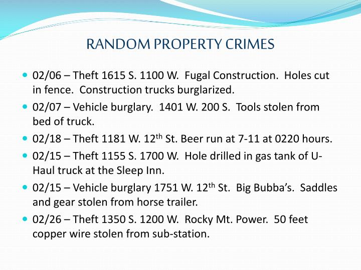 RANDOM PROPERTY CRIMES