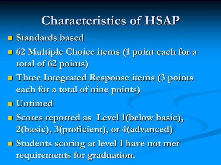 Characteristics of HSAP