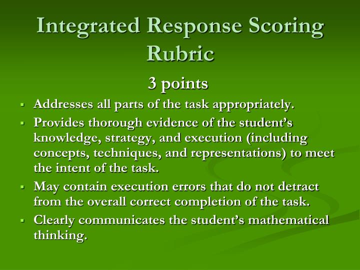 Integrated Response Scoring Rubric