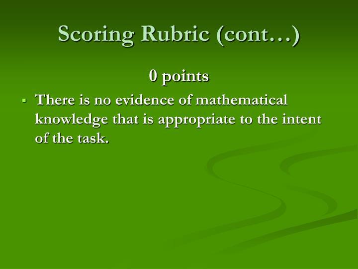 Scoring Rubric (cont…)