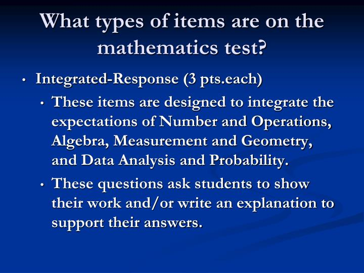 What types of items are on the mathematics test?