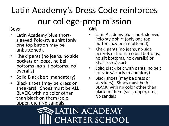 Latin Academy's Dress Code
