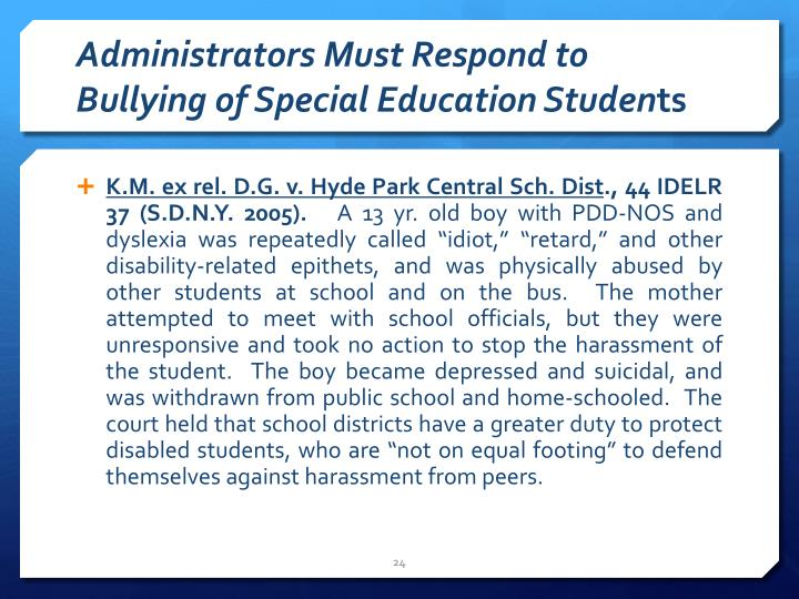 Administrators Must Respond to Bullying of Special Education Studen