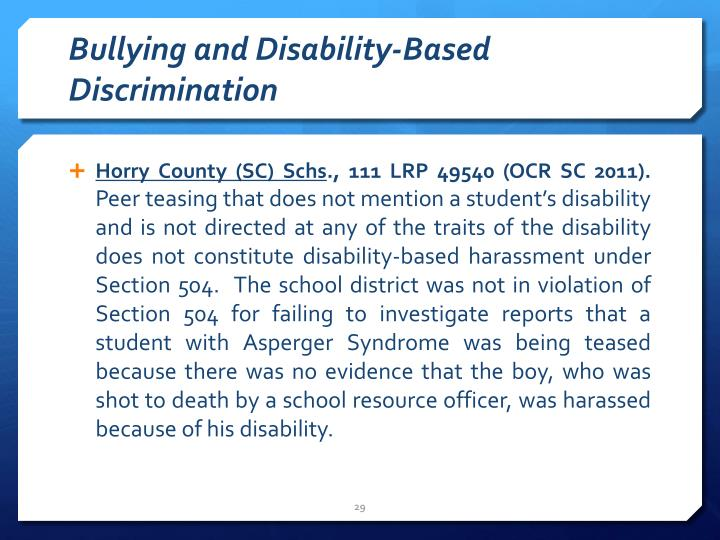 Bullying and Disability-Based Discrimination