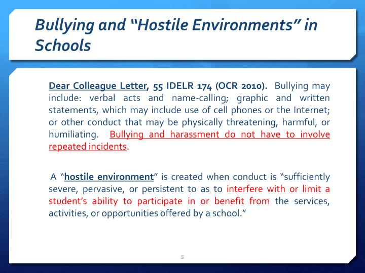 "Bullying and ""Hostile Environments"" in Schools"