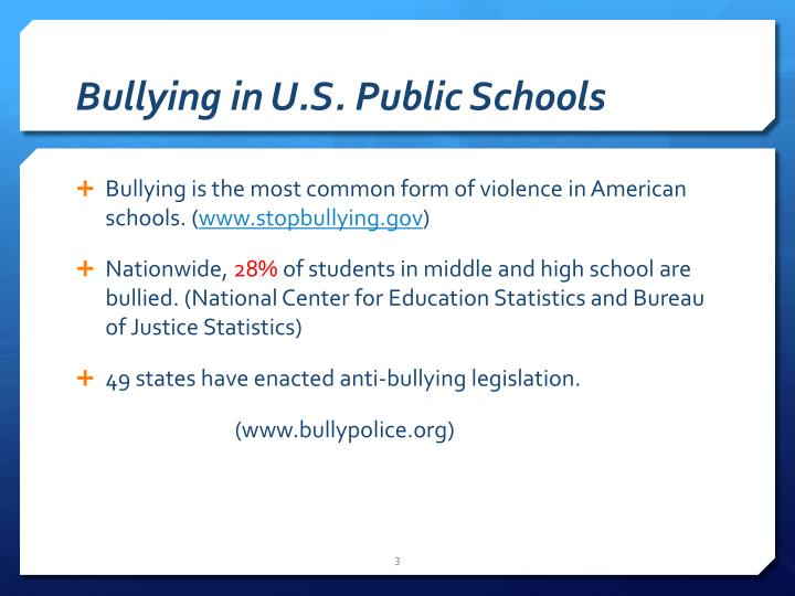 Bullying in u s public schools