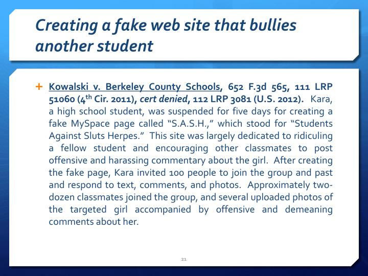 Creating a fake web site that bullies another student