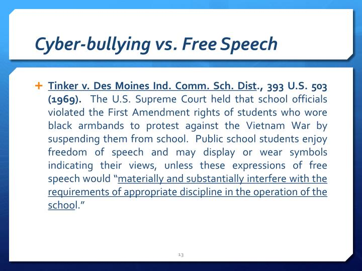 Cyber-bullying vs. Free Speech
