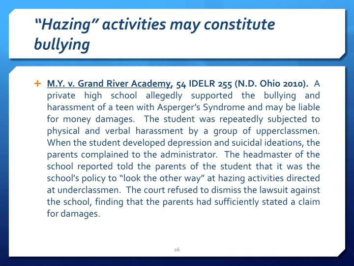 """Hazing"" activities may constitute bullying"