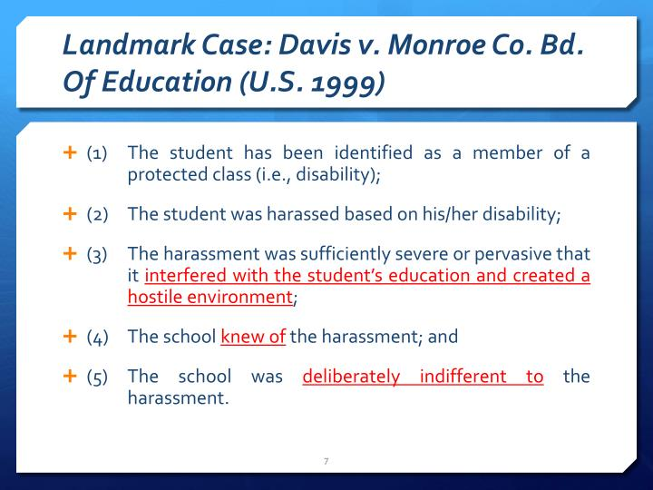 Landmark Case: Davis v. Monroe Co. Bd. Of Education (U.S. 1999)
