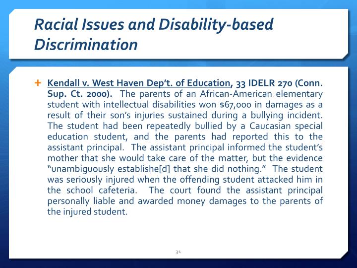 Racial Issues and Disability-based Discrimination