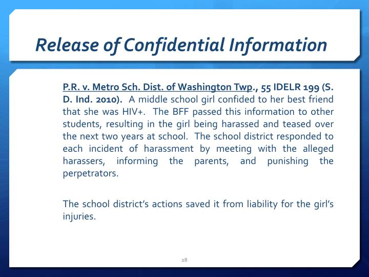 Release of Confidential Information