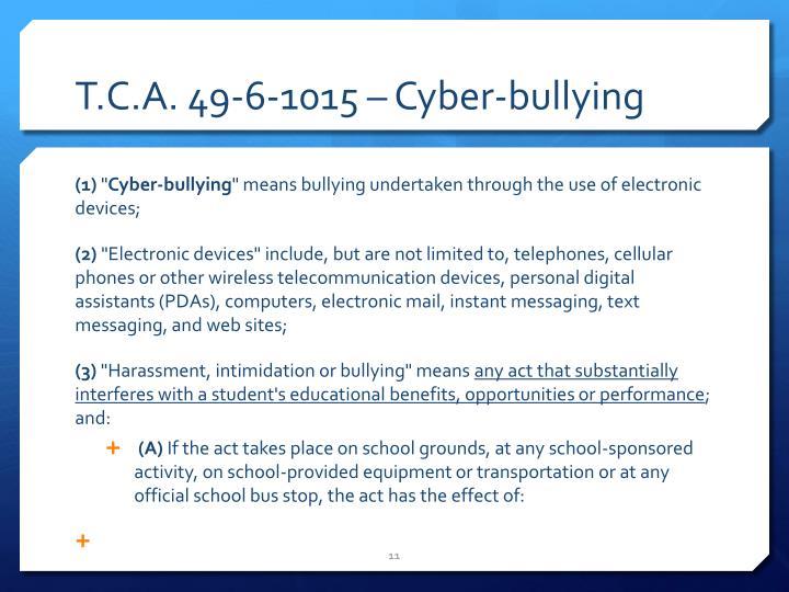 T.C.A. 49-6-1015 – Cyber-bullying