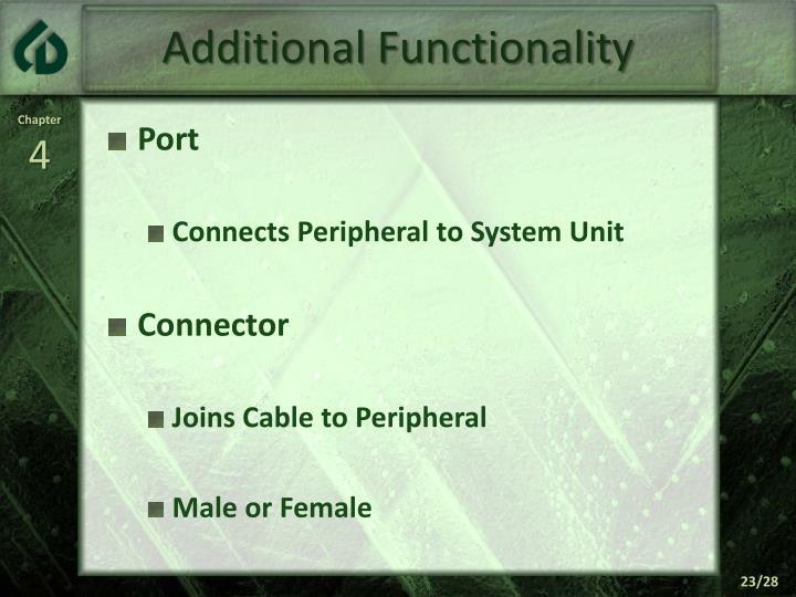 Additional Functionality