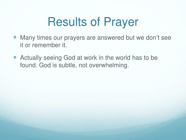 Results of Prayer