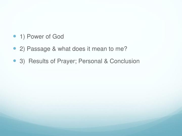 1) Power of God