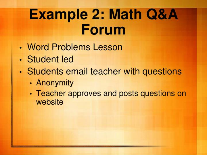Example 2: Math Q&A Forum