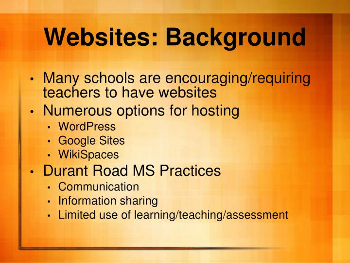 Websites: Background