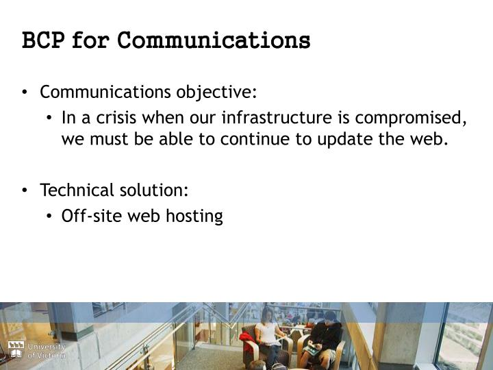 BCP for Communications