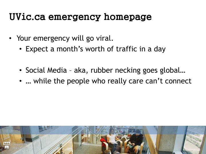 UVic.ca emergency homepage