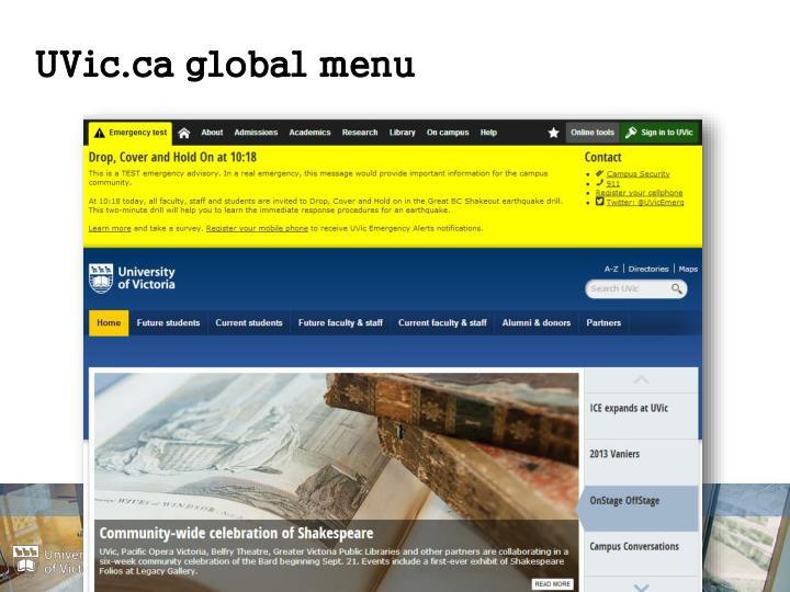 UVic.ca global menu
