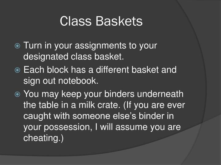 Class Baskets