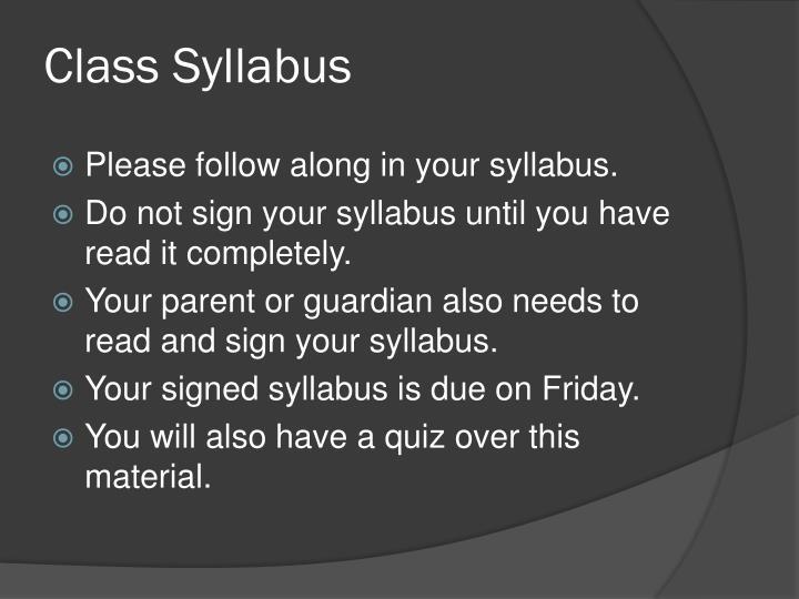 Class Syllabus
