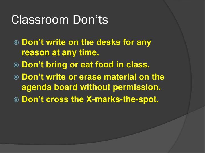 Classroom Don'ts